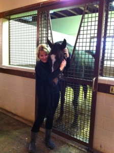 "Ann Moss refers to Zenyatta as ""a gift...a precious gift."" Here, Ann and Zenny at Lane's End, circa 2011"