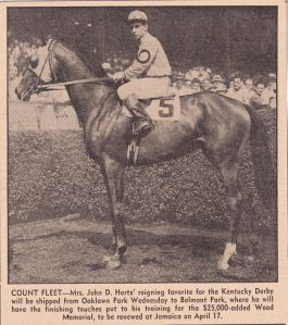 One of my grandfather's great loves, Count Fleet, in a news clipping from the time he was racing.