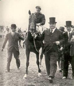HYPERION with LORD DERBY after his Derby victory.