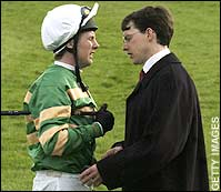 As John battled cancer, Aidan O'Brien stepped in to train ISTABRAQ. Shown here in conversation with Charlie Swan.