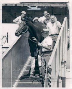 "Dr. Fager and trainer, John Nerud. Said Nerud of ""the Doc,"" I never gave a damn who rode him. He was such an amazing horse..."""