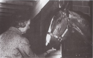 "Northern Dancer was many things to many people, but one thing he wasn't was bell-behaved. Remarkably, he formed a deep attachment to Winifred Taylor, wife of the Dancer's owner-breeder, E.P. Taylor. He terrorized just about everyone, but when the Dancer heard Mrs. Taylor's footsteps he whinnied a ""Hello"" and became a gentle, docile pony."