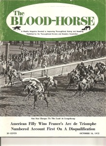 San San, a daughter of America's Bald Eagle, as she appears on the cover of The Blood-Horse after her Arc win.