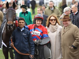 All together now: Sprinter Sacre with his lad, jockey Barry Geraghty and trainer Nicky Henderson after winning the Chandler.