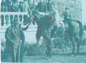 "Trainer Sunny Jim Fitzsimmons (foreground) pictured with his 1939 Derby winner, Johnstown. ""Mr. Fitz"" dominated American horse racing's ""Golden Age."" He trained two Triple Crown winners (Gallant Fox and Omaha), as well as winning the Derby 3 times, the Preakness 4 times and the Belmont, 6 times. Other notables trained by Mr. Fitz include Bold Ruler, Nashua and Granville. All told, the trainer sent out 155 stakes-winning horses who captured 470 stakes races."