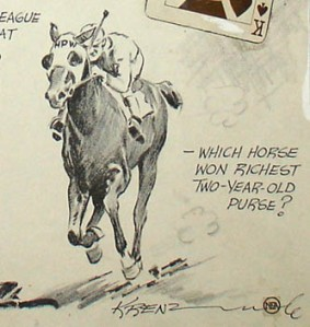 Artist Art Krentz's sketch of champion, Whichone, done in 1929.
