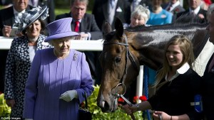 ESTIMATE poses with HM The Queen after winning the Queen's Vase at Royal Ascot in 2012.