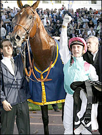 RAIL LINK, Juddmonte's Arc winner of 2008, shown here with his ecstatic jockey. The stallion is represented by Brass Ring and