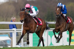 RIPOSTE under Tom Queally shown here beating the filly MUTHMERA