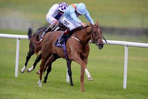 SANDIVA and Pat Smullen race home in the Coolmore Stud Fillies Sprint for trainer, Richard Fahey.