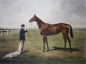 The incomparable Sceptre, who was the rival of the brilliant Pretty Polly, pictured in this intaglio print during her racing days.