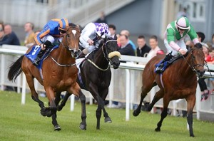 SIR JOHN HAWKINS and Joseph O'Brien (left) wins from INTENSIFIED and SUDIRMAN for trainer Aidan O'Brien. Photo HEALY RACING.