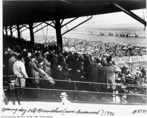 The King/Queen's Plate finally settled at Old Woodbine, in the young city of Toronto, in 1883. This photo shows Opening Day at Old Woodbine in 1926.