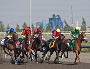 BIG RED MIKE moves out of the pack to win the 2010 Queen's Plate. (Photo and copyright, The Toronto Star)