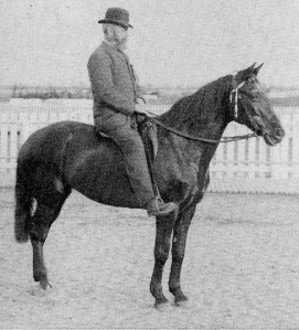 Joseph E. Seagram pictured in 1869 on his mare, BLACK BESS.