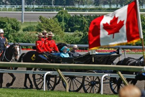 Queen Elizabeth II arrives at Woodbine on July 4, 2010 for the Queen's Plate, won that year by BIG RED MIKE. (Photo and copyright, The Toronto Star)