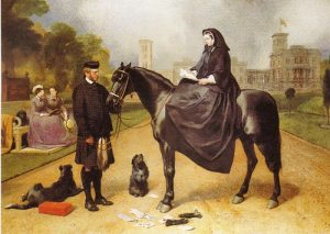 Queen Victoria, as depicted by Sir Edwin Landseer, with her companion, John Brown, inaugurated the Queen's Plate and the tradition of presenting the winner with a pouch from the sovereign, containing 50 guineas.