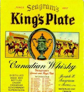 J.E. Seagram's King's and Queen's Plate winners depicted on the label of Seagram's whiskey.
