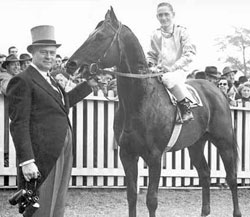 E.P. Taylor with his first (King's) Plate winner, EPIC, who won in 1949.