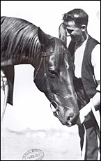 Phar Lap with the man who was closest to him and his best friend, Tommy Woodcock.