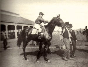 IMP in 1898, going to post at Hawthorne Race Track.