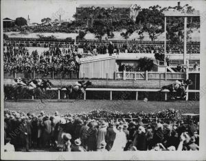 PHAR LAP comes to the wire, ears pricked, to win the 1930 Melbourne Cup.