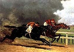 ETHELBERT edging out IMP (who had led most of the way) in the 1900 Brighton Cup. This depiction of the mare's running style owes more to accuracy than artistry. IMP did, in fact, run very low to the ground.