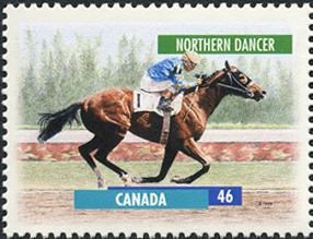 NORTHERN DANCER, depicted here in a stamp released in 2012 by Canada Post.
