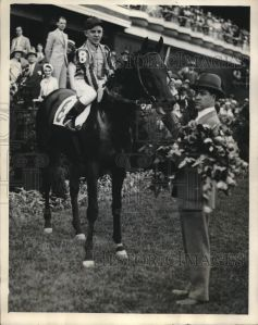 The gorgeous TWENTY GRAND with his roses, after winning the 1931 Kentucky Derby.
