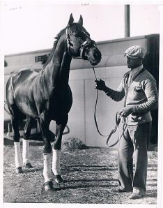 EQUIPOISE at seven in California, where he was training to run in the Santa Anita Handicap. Burdened with 130 lbs., he finished unplaced and was retired to stud shortly thereafter.
