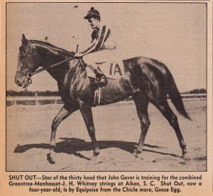 The handsome SHUT OUT as he was depicted in 1943 in the Daily Racing Form.