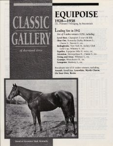EQUIPOISE'S passing was noted in all the major race publications.