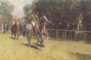 "The brilliant MUMTAZ MAHAL was dubbed ""The Flying Filly"" by British racegoers. Painting by Lionel Edwards."