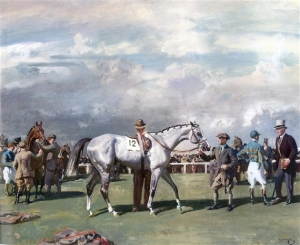 "Alfred James Munnings gorgeous painting, ""SADDLING MAHMOUD FOR THE DERBY,"" was turned into a British stamp in 1936 after the colt's Derby win."