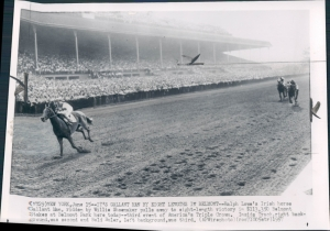 GALLANT MAN wins the 1957 Belmont Stakes by 8 lengths, leaving Bold Ruler well behind at the finish.