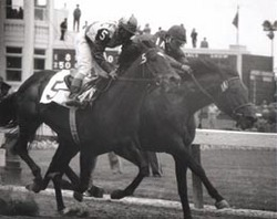 Bill Shoemaker inexplicably misses the finish line by standing in the stirrups on GALLANT MAN for a split second, allowing IRON LIEGE to charge through to win.