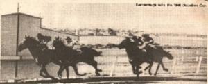 BERNBOROUGH (white headband) shown winning the 1946 Doomben Cup.