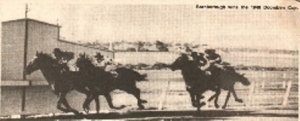BERNBOROUGH (white headband) shown winning the 1946 Doomben Cup.