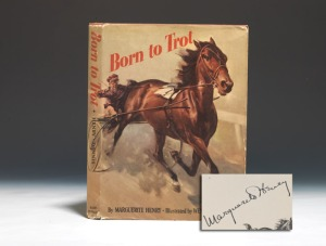 "Although she takes some ""artistic license"" in the telling, Marguerite Henry's BORN TO TROT is ROSALIND and the White family's story, told with much love and drama."