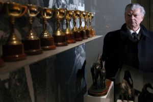 BART CUMMINGS today, standing in the company of his twelve Melbourne Cups.