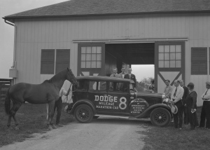 Who knew? MAN O' WAR and Will Harbut in what seems to be an ad campaign for Dodge! Photo and copyright, the digital library of the University of Kentucky.