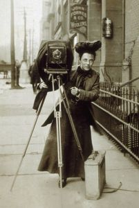 Can you imagine taking this to the track? Photojournalist Jessie Tarbox and her camera, circa 1900.