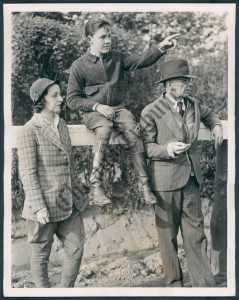 Jockey IRA HANFORD (rode Bold Venture to win the Kentucky Derby) with Max Hirsch and daughter, Mary Hirsch.