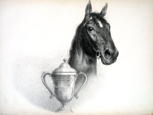 C.W. An derision's lithograph of BLOCKADE and the Maryland Hunt Cup.