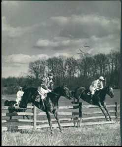 BLOCKADE leads at the 11th jump in his 1940 Maryland Hunt Cup win.