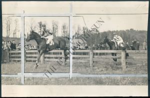 BLOCKADE and jockey J. Fred Colvill clearing one of the rail fences.