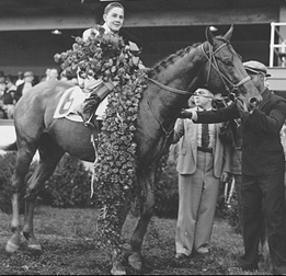 "Wearing roses: BOLD VENTURE and the young Ira ""Babe"" Hanford, the youngest jockey to ever win the Kentucky Derby."