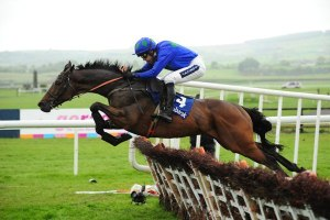 Hurrican Fly clears a hurdle in a manner reminiscent of the great Irish National Hunt champion, Istabraq.