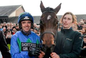 what a team! The great Ruby Walsh, HURRICANE FLY and Gail Carlisle, the gelding's caretaker and frequent exercise rider.