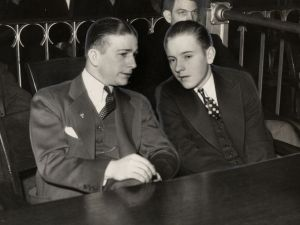 Willie Saunders (foreground) and Schaeffer at the latter's trial for the murder of Evelyn Sliwinski.